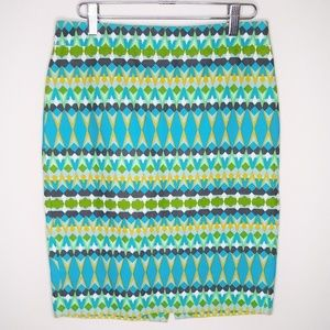 J. CREW BASKET WEAVE THE PENCIL SKIRT BLUE GREEN
